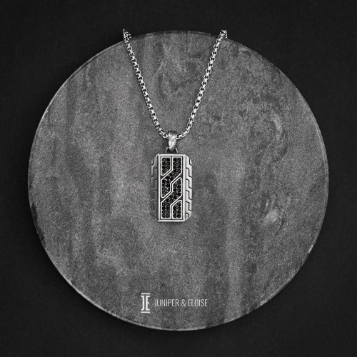 Mens Steel Tag Pendant Necklace with Black Zircon