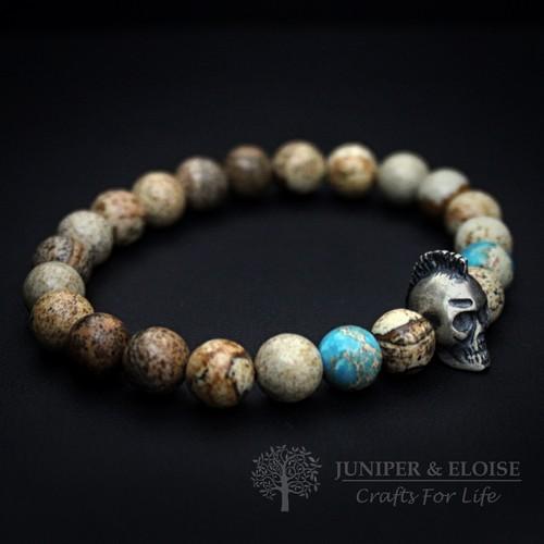 Silver Punk Skull Bracelet For Men