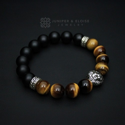 Tiger Eye and Onyx Beaded Lion Bracelet