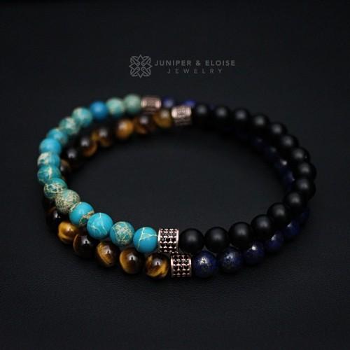 Men's Double Bead Bracelet with mixed Gemstones