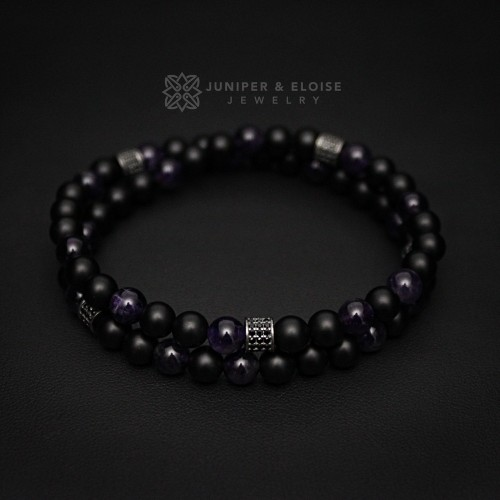 Men's  Onyx and Amethyst Double Wrap Bracelet
