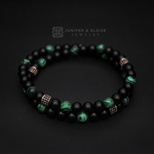 Men's  Onyx and Malachite Double Wrap Bracelet